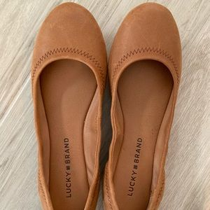 Lucky Tan Leather Flats